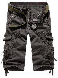Embroidered Drawstring Design Cropped Cargo Pants