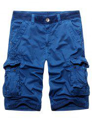 Rib Panel Stud Embellished Zipper Fly Cargo Shorts -