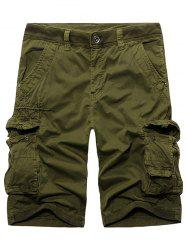 Rib Panel Stud Embellished Zipper Fly Cargo Shorts