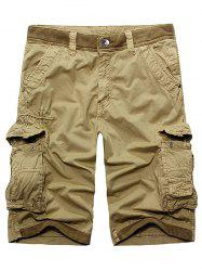 Rib Panel Stud Embellished Zipper Fly Cargo Shorts - KHAKI