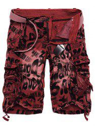 Graphic Print Tie Dye Applique Cargo Shorts - RED
