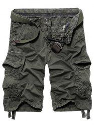 Drawstring Graphic Print Pockets Cargo Shorts