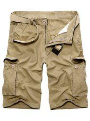 Multi Pockets Zipper Fly Cargo Shorts - KHAKI