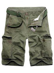 Multi Pockets Zipper Fly Cargo Shorts - ARMY GREEN