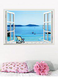 Removable 3D Seaside Swimming Pool Fake Window Wall Sticker