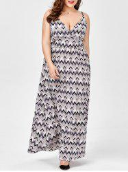 Slip Plus Size Chevron Print Empire Waist Dress