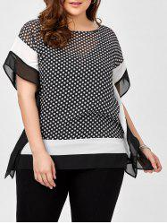 Polka Dot Chiffon Plus Size Top