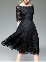 Off Shoulder Lace Knee Length A Line Swing Party Dress With Sleeves - BLACK