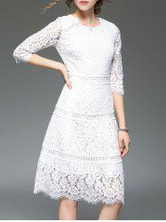 Scalloped Lace A Line Evening Dress - WHITE
