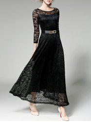 Belted High Waist Formal Lace Maxi Dress With Sleeves