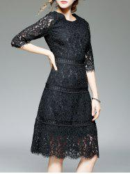 Scalloped Lace High Waist A Line Dress With Sleeves