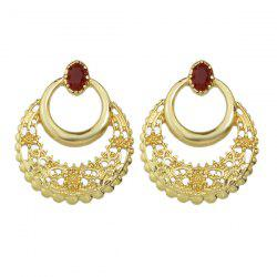Hollow Out Floral Engraved Faux Gem Earrings