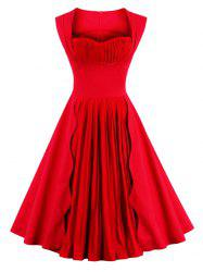 Sweetheart cou sans manches Pin Up Dress - Rouge 2XL