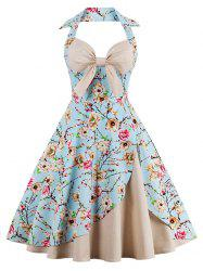 Halter Vintage Floral Print Pin Up A Line Dress - APRICOT