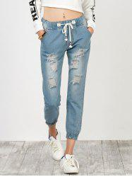 High Rise Drawstring Distressed Jeans - Bleu clair S
