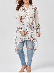 Chiffon Floral Plus Size Top - WHITE
