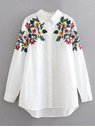 Long Sleeves Floral Embroidered Cotton Shirt -
