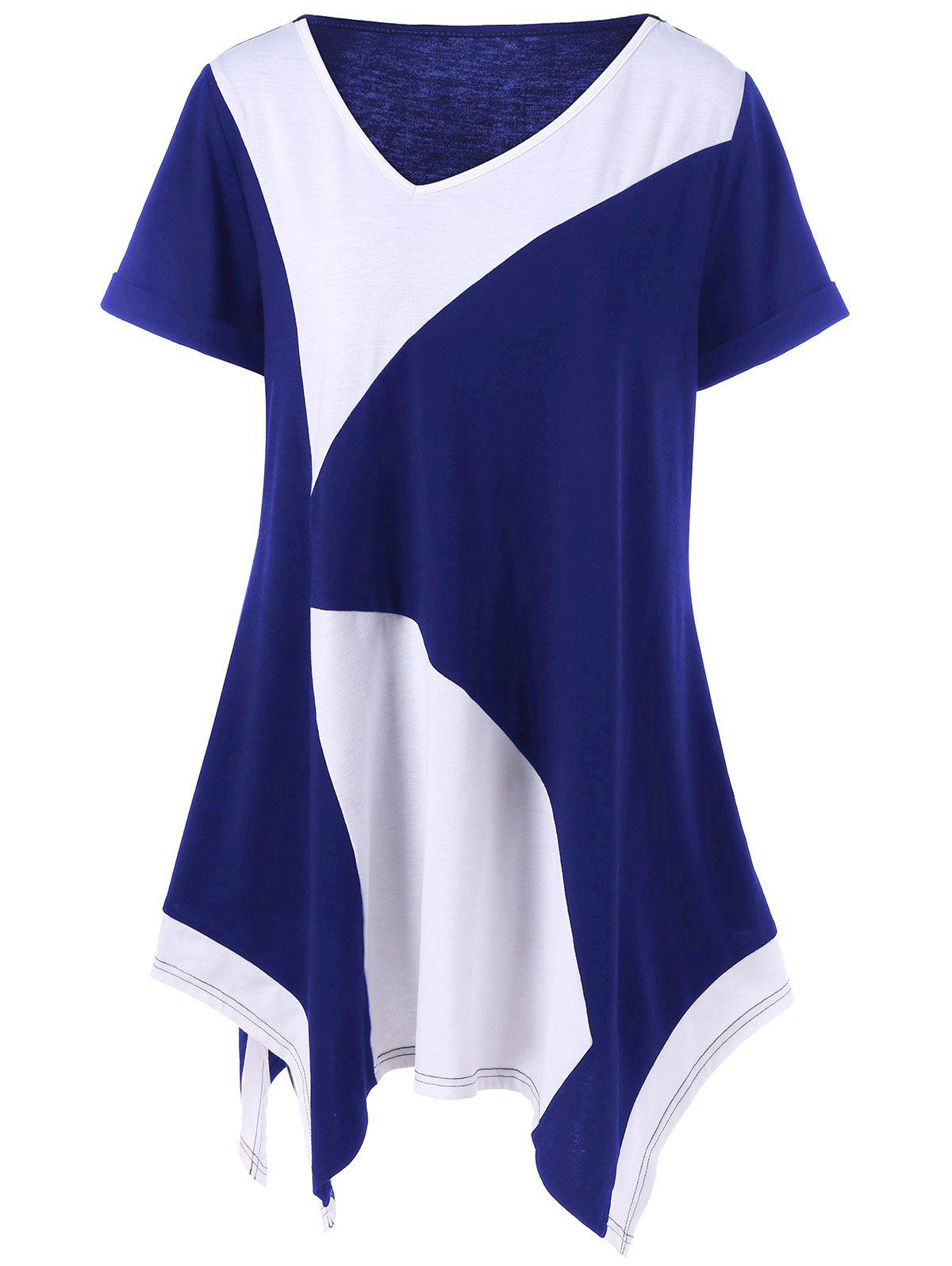 Plus Size Long Cuffed Sleeve Asymmetrical T-ShirtWOMEN<br><br>Size: 2XL; Color: BLUE AND WHITE; Material: Polyester,Spandex; Shirt Length: Long; Sleeve Length: Short; Collar: V-Neck; Style: Casual; Season: Summer; Pattern Type: Others; Weight: 0.3500kg; Package Contents: 1 x T-Shirt;