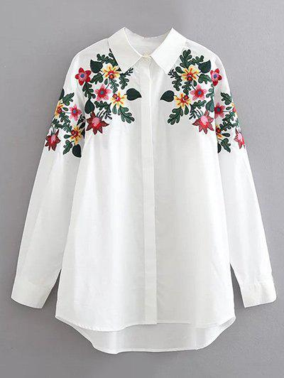 Long Sleeves Floral Embroidered Cotton ShirtWOMEN<br><br>Size: XL; Color: WHITE; Material: Cotton; Shirt Length: Regular; Sleeve Length: Full; Collar: Shirt Collar; Pattern Type: Floral; Style: Casual; Seasons: Autumn,Spring; Weight: 0.3700kg; Package Contents: 1 x Shirt;