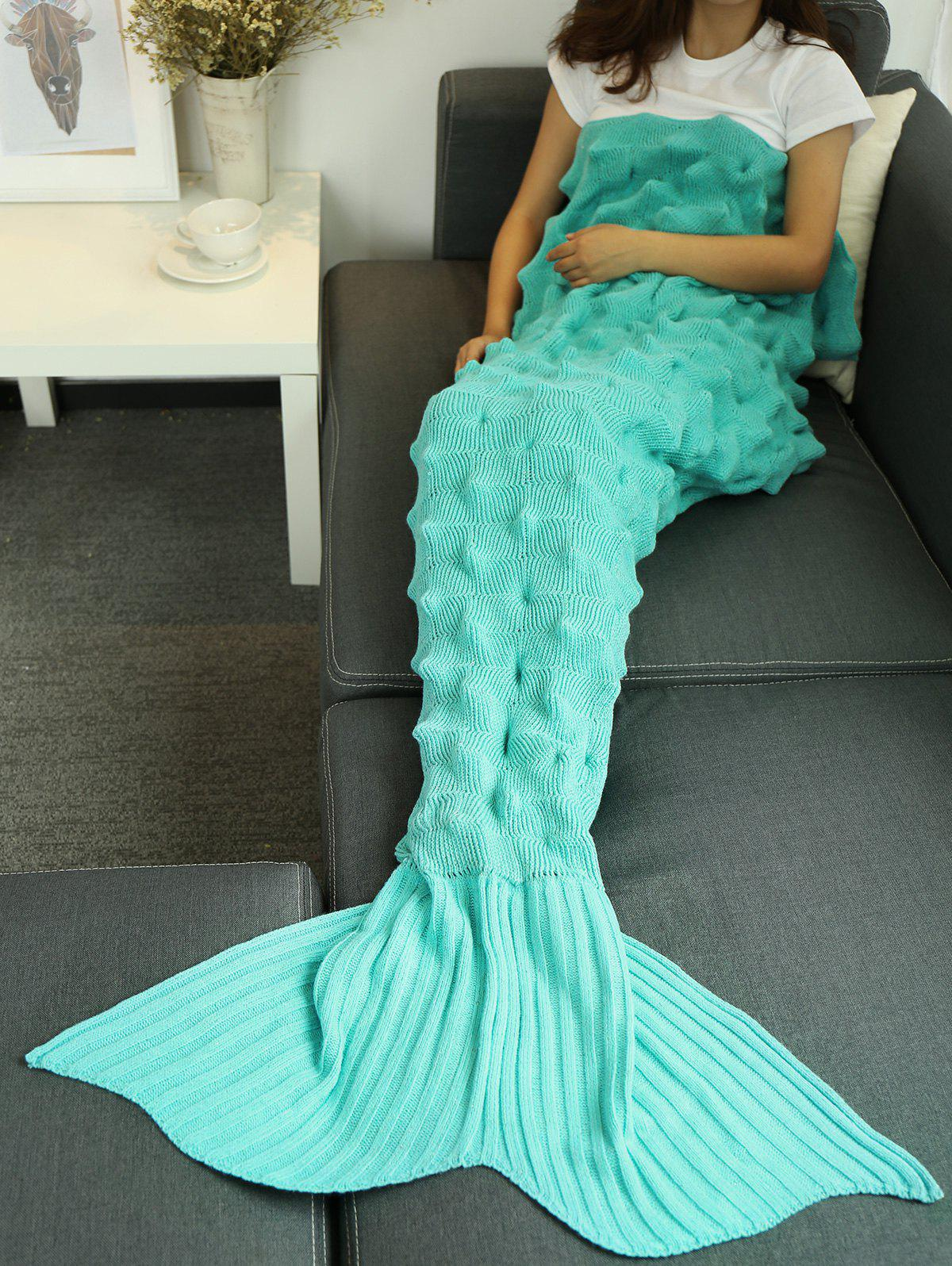 Yarn Knitted Wrap Throw Mermaid Tail BlanketHOME<br><br>Size: 150*90CM; Color: LAKE BLUE; Type: Knitted; Material: Acrylic,Polyester; Pattern Type: Solid; Size(L*W)(CM): 160*90CM; Weight: 1.0800kg; Package Contents: 1 x Mermaid Blanket;