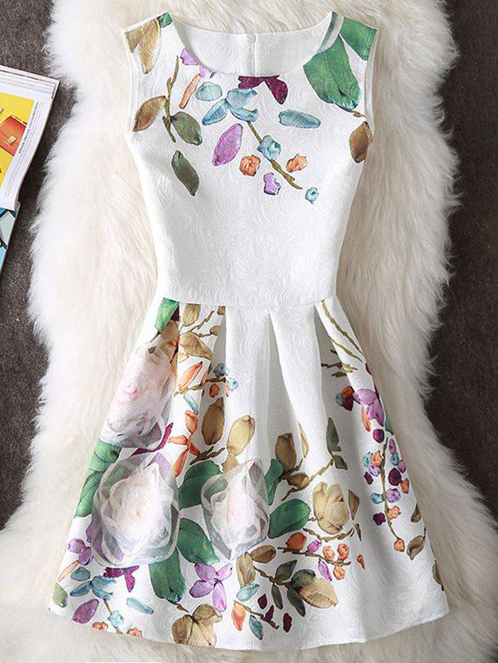 New Embossed Floral Print Sleeveless Mini Dress