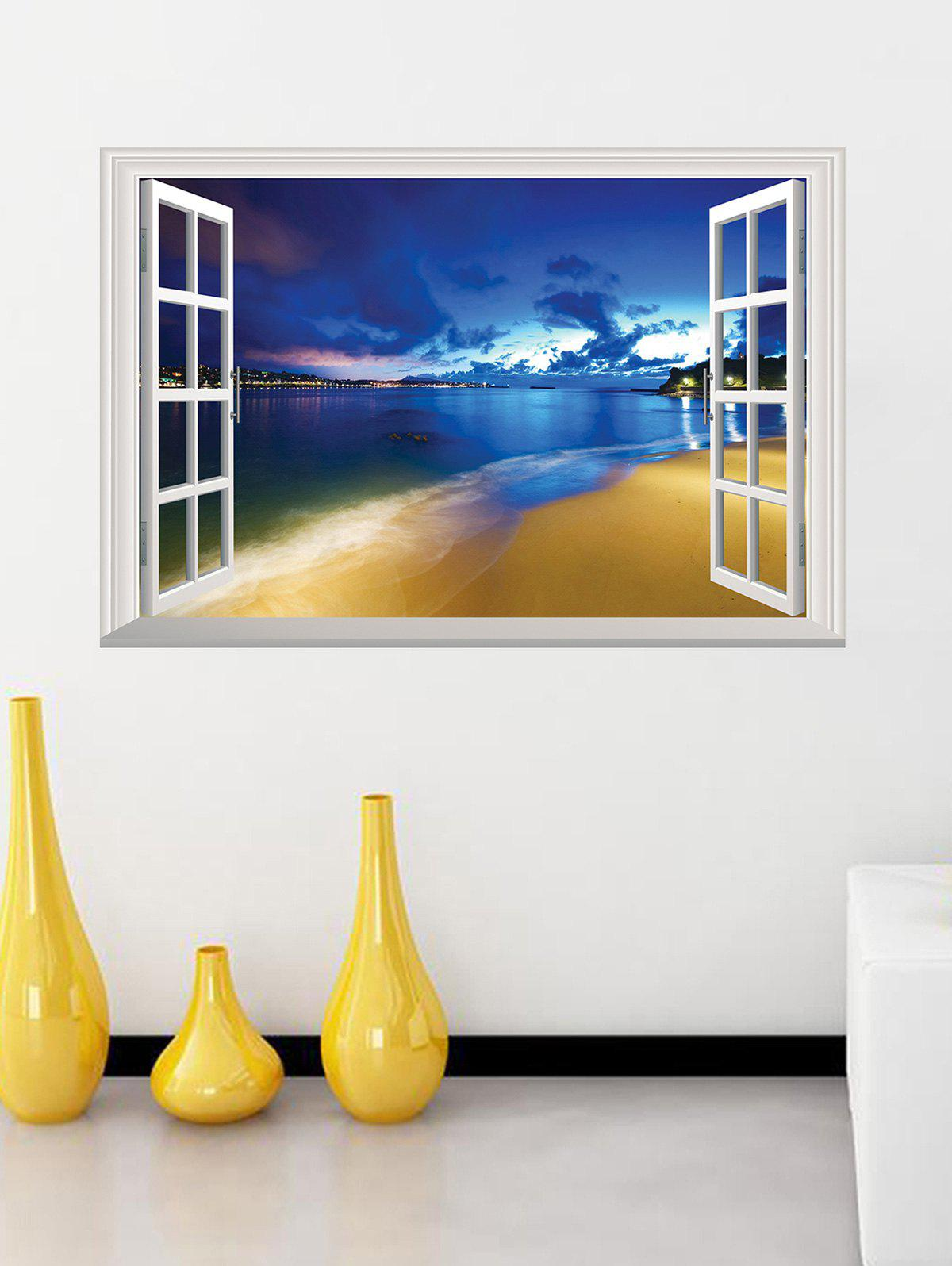 Removable 3D Seaside Night Fake Window Wall StickerHOME<br><br>Size: 50*70CM; Color: BLUE; Wall Sticker Type: 3D Wall Stickers; Functions: Decorative Wall Stickers; Theme: Landscape; Material: PVC; Feature: Removable; Weight: 0.3146kg; Package Contents: 1 x Wall Sticker;