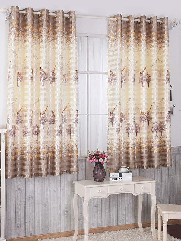 Latest Birds Printed Window Blackout Curtain For Living Room