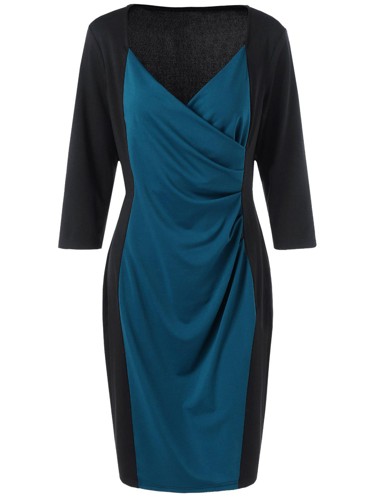 Plus Size V Neck Sheath Surplice DressWOMEN<br><br>Size: 2XL; Color: BLUE AND BLACK; Style: Brief; Material: Polyester,Spandex; Silhouette: Sheath; Dresses Length: Knee-Length; Neckline: Sweetheart Neck; Sleeve Length: 3/4 Length Sleeves; Pattern Type: Solid; With Belt: No; Season: Spring,Summer; Weight: 0.3700kg; Package Contents: 1 x Dress;