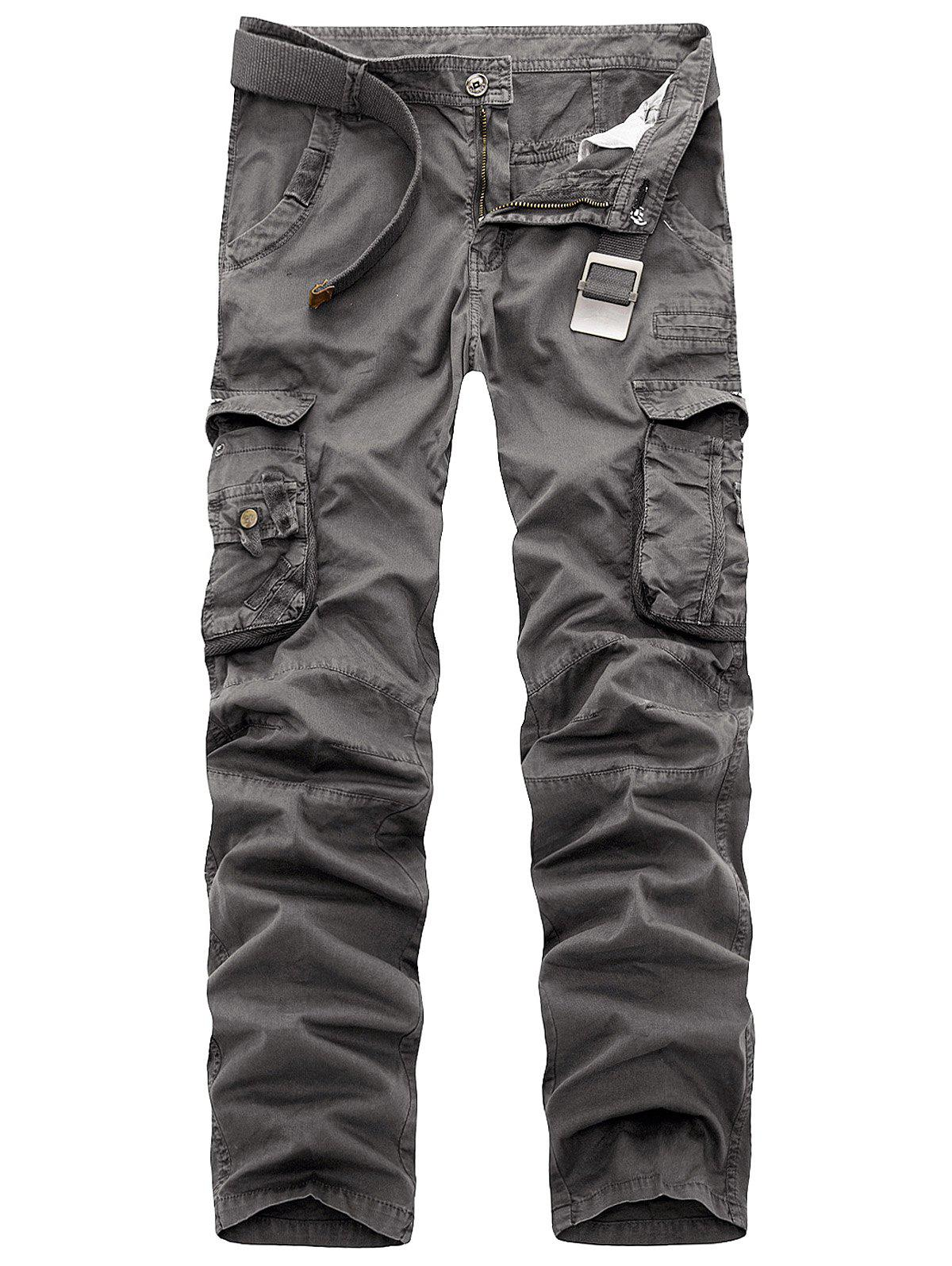 Affordable Zipper Fly Multi Pockets Slimming Cargo Pants