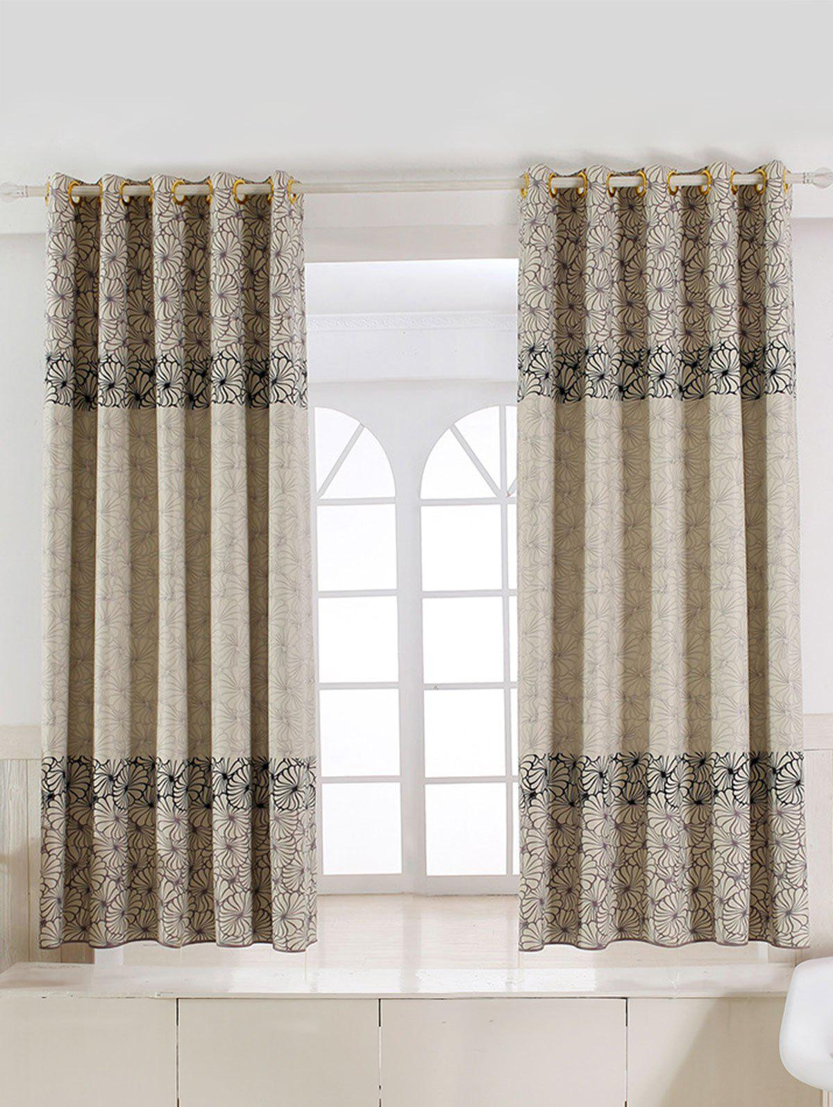 Floral Embroidery Fabric Grommet Top Blackout CurtainHOME<br><br>Size: 100*200CM; Color: CANDY BEIGE; Applicable Window Type: French Window; Function: Blackout; Installation Type: Ceiling Installation; Location: Window; Material: Polyester / Cotton; Opening and Closing Method: Left and Right Biparting Open; Pattern Type: Floral; Processing: Punching; Processing Accessories Cost: Excluded; Style: European and American Style; Type: Curtain; Use: Cafe,Home,Hospital,Hotel,Office; Weight: 0.4800kg; Package Contents: 1 x Curtain;
