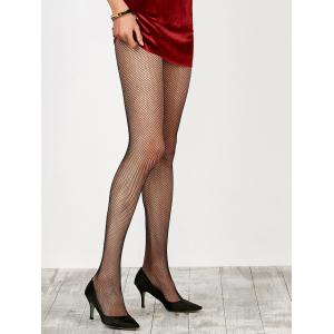 Dress Wear Small Weave Fishnet Pantyhose - Black - One Size
