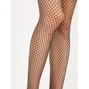 Medium Weave Design Fishnet Pantyhose - BLACK ONE SIZE