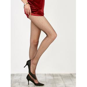 Medium Weave Design Fishnet Pantyhose - Black - One Size