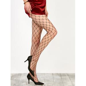 Large Loop Design Fishnet Pantyhose - Black - One Size