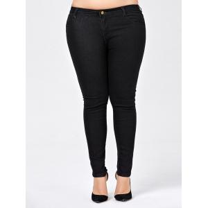 Plus Size Skinny Jeans with Pocket - Black - 5xl