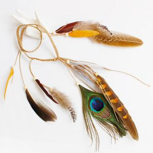 Peacock Feather Boho Beaded Braided Hairband - COFFEE