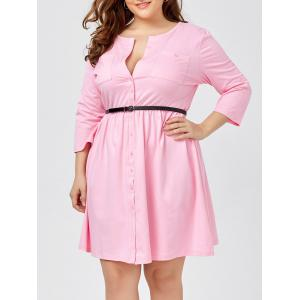 Plus Size Long Sleeve Button Down Shirt Dress with Belt