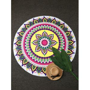 Mandala Lotus Print Round Beach Throw
