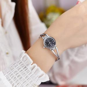 JW Alloy Strap Rhinestone Wrist Watch - Silver And Black - One Piece