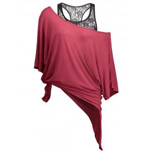 Handkerchief Batwing T-Shirt with Lace Tank Top - Wine Red - 2xl