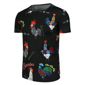 Colored Cock Pattern Short Sleeve T-Shirt