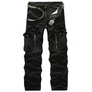 Straight Leg Pockets Military Cargo Pants - Black - 29