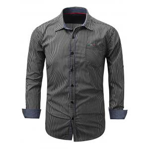 Vertical Striped Embroidered Pocket Long Sleeve Shirt