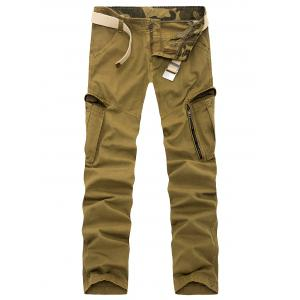 Zipper Fly Pockets Slimming Applique Pants - Khaki - 32