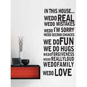 Inspirational Letters Quote Removable Wall Stickers - Black - 60*90cm