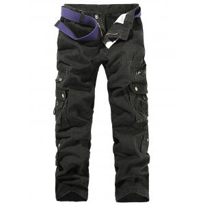 String Embroidered Multi Pockets Cargo Pants