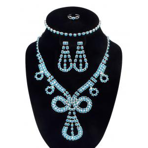 Rhinestoned Teardrop Jewelry Set - Sky Blue - One Size