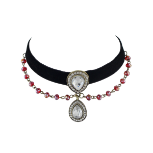 Artificial Gem Beads Velvet Choker Necklace