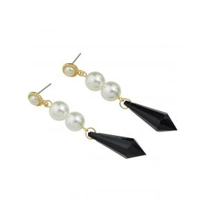 Artificial Pearl Geometric Drop Earrings - BLACK