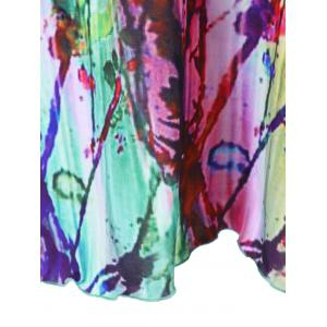Plus Size Butterfly Sleeve Tie Dye T-Shirt - COLORMIX 3XL
